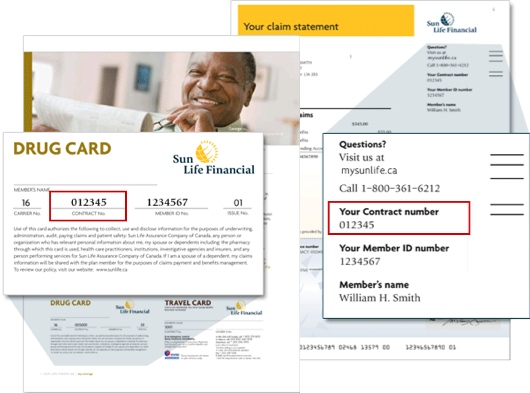 You can find your contract number in the upper right corner of your Sun Life claim statement or on your coverage or drug card.