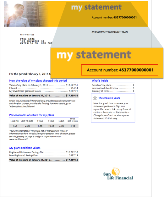 You can find your account number in the upper right corner of your Sun Life statement.