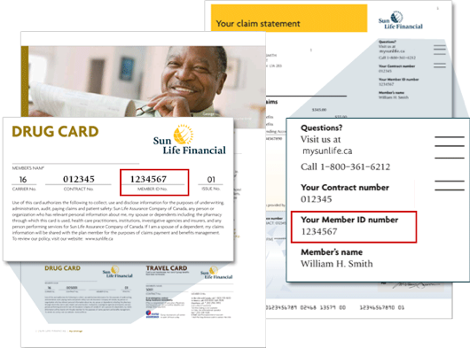 You can find your member ID in the upper right corner of your Sun Life claim statement or on your coverage or drug card.
